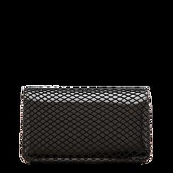 Pochette nera a rete in ecopelle vernice, Saldi Borse, 123308810VENEROUNI, 001a