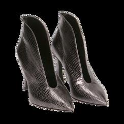 Ankle boots canna di fucile laminato, tacco 9,5 cm , Primadonna, 165200231LMCANN035, 002 preview