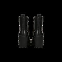 Anfibi neri con lacci e carrarmato, tacco 7 cm, Primadonna, 120800804EPNERO035, 003 preview