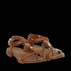 Sandali cuoio in eco-pelle, Primadonna, 13B915101EPCUOI035, 002a