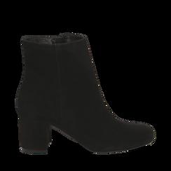 Ankle boots neri in camoscio, tacco 7 cm , Stivaletti, 14D601101CMNERO036, 001a
