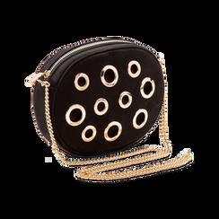 Tracollina nera in microfibra con oblò dorati, Saldi, 123308609MFNEROUNI, 003 preview