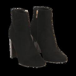Ankle boots neri in microfibra, tacco tartarugato 9,5 cm , Primadonna, 142166057MFNERO039, 002a