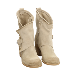 Biker boots taupe in camoscio, tacco 7 cm, Primadonna, 155605607CMTAUP040, 002a