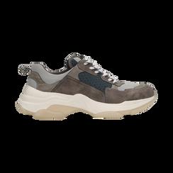 Sneakers grigie dad shoes, Scarpe, 124180229TSGRIG, 001 preview