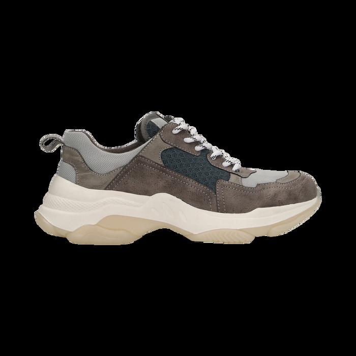 Sneakers grigie dad shoes, Scarpe, 124180229TSGRIG