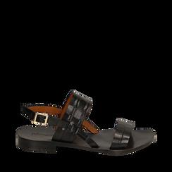 Sandales noires en cuir imprimé crocodile, Primadonna, 15D620010CDNERO036, 001a