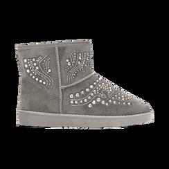 Scarponcini invernali grigi con mini borchie, Scarpe, 12A880115MFGRIG, 001 preview