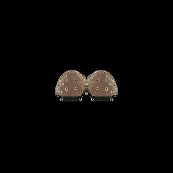Ballerine taupe in microfibra scamosciata e mini-borchie, tacco basso, Primadonna, 124991821MFTAUP, 003 preview