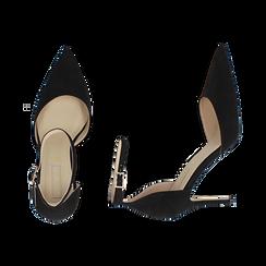 Escarpins avec une lanière en microfibre noir, talon de 9 cm, Chaussures, 152106617MFNERO036, 003 preview