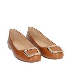 Ballerines cognac avec boucle, Chaussures, 174969811EPCOGN035, 002a