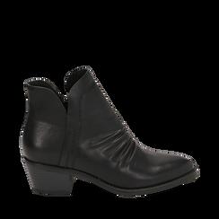 Botines en eco piel color negro, tacón 4,50 cm, Primadonna, 150693110EPNERO036, 001a