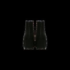 Tronchetti neri scamosciati con tacco scultura 6 cm, Scarpe, 122707126MFNERO, 003 preview