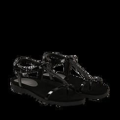Sandali minimal neri in vernice, Primadonna, 134920247VENERO035, 002a