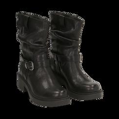 Biker boots neri in pelle con fibbia, Stivaletti, 147200635PENERO036, 002 preview