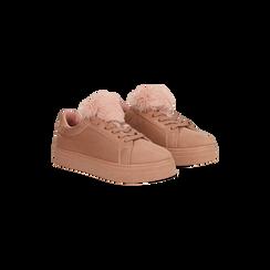 Sneakers nude con pon pon in eco-fur, Primadonna, 121081755MFNUDE, 002 preview