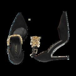 Décolleté gioiello nere in microfibra, tacco 10 cm , Scarpe, 142120720MFNERO035, 003 preview