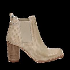 Chelsea boots traforati beige in vitello, tacco 8,50 cm , Scarpe, 138900880VIBEIG035, 001a