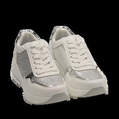 Sneakers bianche con zeppa, Scarpe, 152802472EPBIAN035, 002a