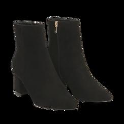 Ankle boots neri in microfibra, tacco 6 cm , Stivaletti, 144916811MFNERO035, 002a