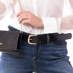 Cintura nera in vernice stampa cocco, Abbigliamento, 144045701VENEROUNI, 002a