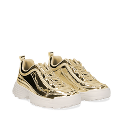 Dad shoes oro in vernice mirror con maxi-suola, Scarpe, 130101201SPOROG036, 002a