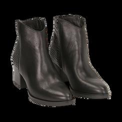 Camperos neri in pelle, tacco 6 cm , Stivaletti, 141612965PENERO036, 002 preview