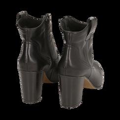 Botines en piel color negro, tacón 7,50 cm, Primadonna, 157725926PENERO035, 004 preview