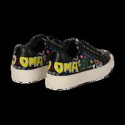 Sneakers nere in eco-pelle con scritte cartoon , Scarpe, 139301164EPNERO036, 004 preview