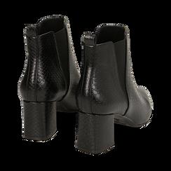 Ankle boots neri stampa vipera, tacco 6 cm , Primadonna, 164931531EVNERO036, 004 preview