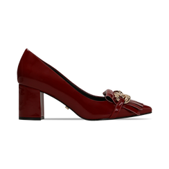 Mocassini décolleté bordeaux in vernice, tacco 6 cm, Scarpe, 122166912VEBORD, 001 preview