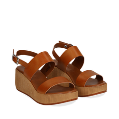 Sandali platform cuoio in eco-pelle, zeppa 5 cm , Primadonna, 13C700258EPCUOI036, 002a