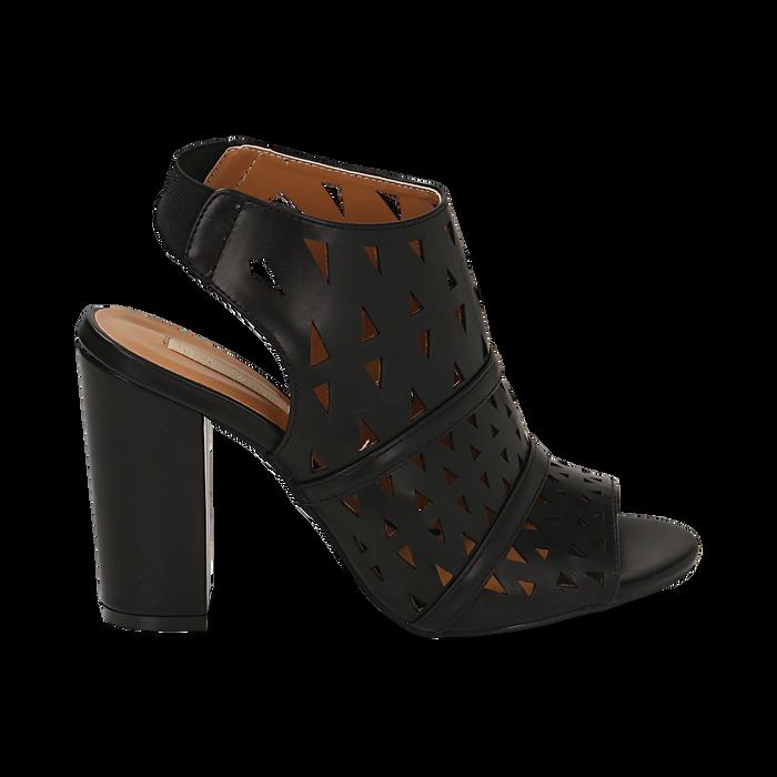 Sandali traforati neri in eco-pelle, tacco 10 cm, Sandali con tacco, 136383055EPNERO036