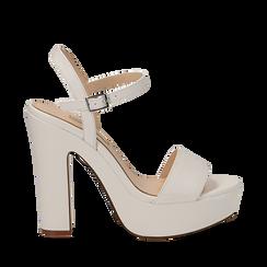 Sandali con plateau bianchi in eco-pelle, tacco 13 cm , Sandali con tacco, 138404164EPBIAN035, 001a