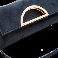 Pochette blu in microfibra scamosciata, Saldi, 123308714MFBLUEUNI, 003 preview