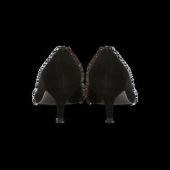 Décolleté nere Kitten heels in vero camoscio, tacco 3 cm, Scarpe, 12D617210CMNERO, 003 preview