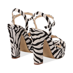 Sandali zebrati in microfibra con plateau, tacco 13 cm, Sandali con tacco, 138404164MFZEBR035, 004 preview