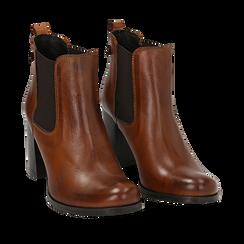 Ankle boots cuoio in pelle di vitello, tacco 8 cm , Stivaletti, 148900880VICUOI036, 002a