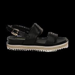 Sandali platform neri in eco-pelle, zeppa 4 cm, Saldi, 132172081EPNERO036, 001 preview