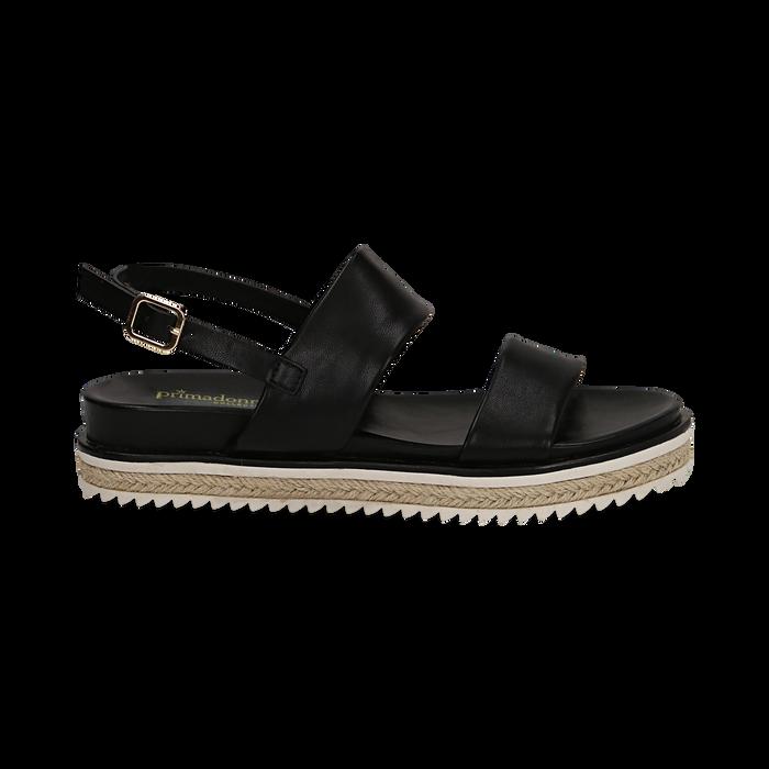 Sandali platform neri in eco-pelle, zeppa 4 cm, Saldi, 132172081EPNERO036
