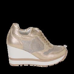 Sneakers oro in laminato con zeppa, Scarpe, 152882661LMOROG035, 001a