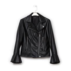 Biker jacket nera in eco-pelle, con maniche scampanate, Primadonna, 136501875EPNEROL, 001a