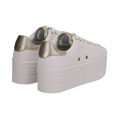Sneakers bianche in eco-pelle dettaglio oro e suola platform, Scarpe, 132602020EPBIOR036, 004 preview