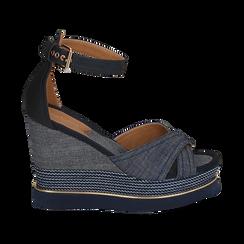 Sandali jeans in tessuto, zeppa 11 cm, Primadonna, 154422213TSJEAN036, 001 preview