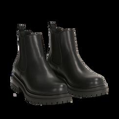 Chelsea boots neri in eco-pelle, tacco 4,5 cm , Scarpe, 140618191EPNERO035, 002a