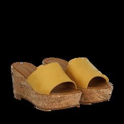Zeppe platform gialle in microfibra, zeppa in sughero 8 cm, Primadonna, 134955111MFGIAL037, 002a