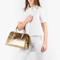 Bolsa de mano en eco-piel con estampado de cocodrilo color dorado, Primadonna, 155702495CCOROGUNI, 002a