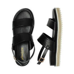 Sandali platform neri in eco-pelle, zeppa 4 cm, Saldi, 132172081EPNERO036, 003 preview