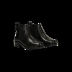 Chelsea Boots neri in vera pelle di vitello, Scarpe, 126905557VINERO, 002 preview