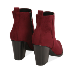 Ankle boots bordeaux in microfibra, tacco 8,50 cm, Primadonna, 160585965MFBORD035, 004 preview